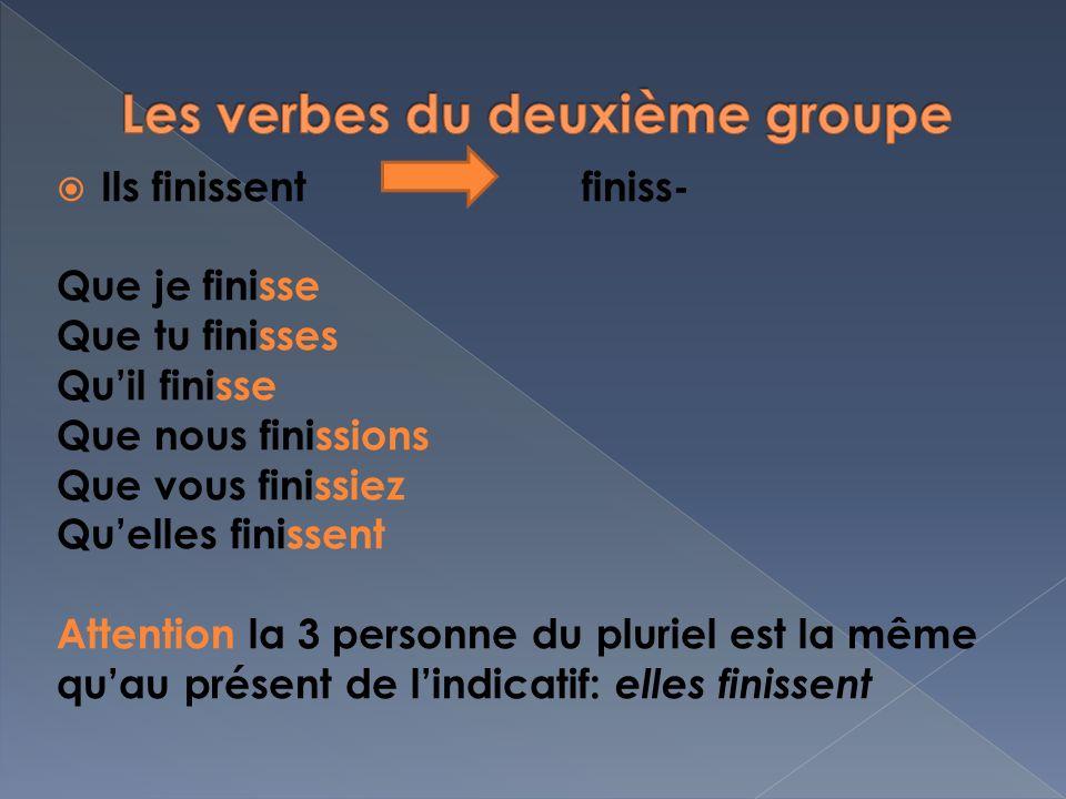 Les verbes du deuxième groupe