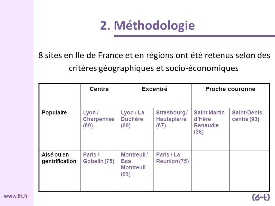 2. Méthodologie 8 sites en Ile de France et en régions ont été retenus selon des critères géographiques et socio-économiques