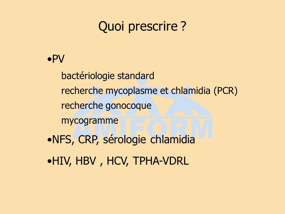 Quoi prescrire PV NFS, CRP, sérologie chlamidia