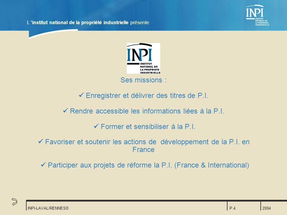 L 'institut national de la propriété industrielle présente