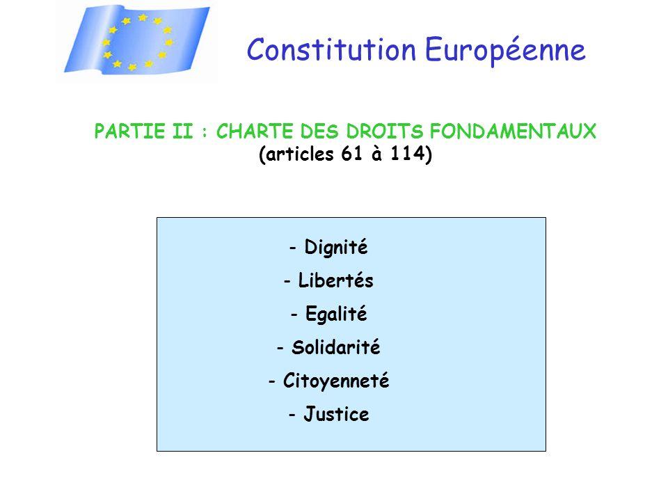 PARTIE II : CHARTE DES DROITS FONDAMENTAUX