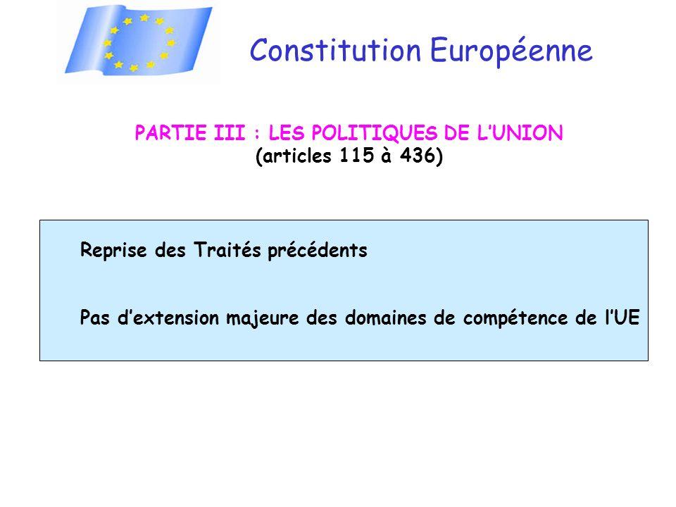 PARTIE III : LES POLITIQUES DE L'UNION