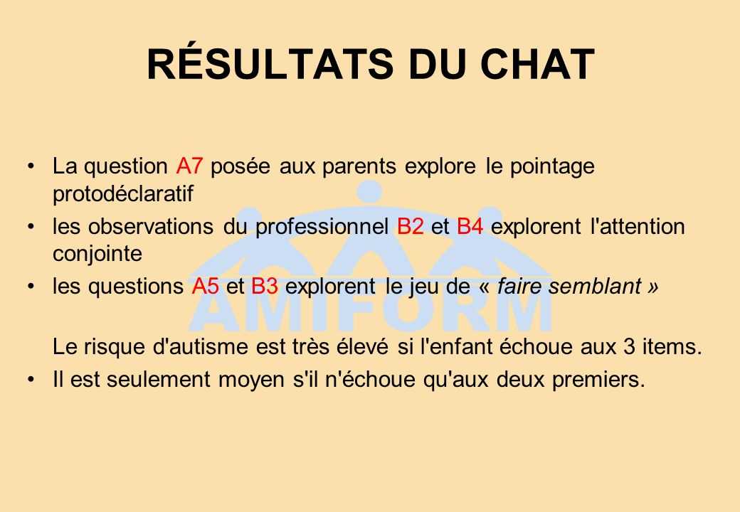 RÉSULTATS DU CHAT La question A7 posée aux parents explore le pointage protodéclaratif.