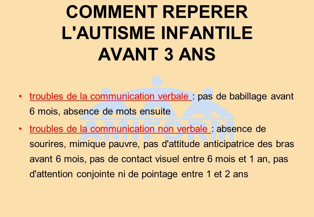 COMMENT REPERER L AUTISME INFANTILE AVANT 3 ANS