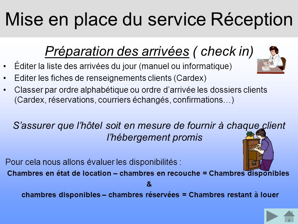 Mise en place du service Réception