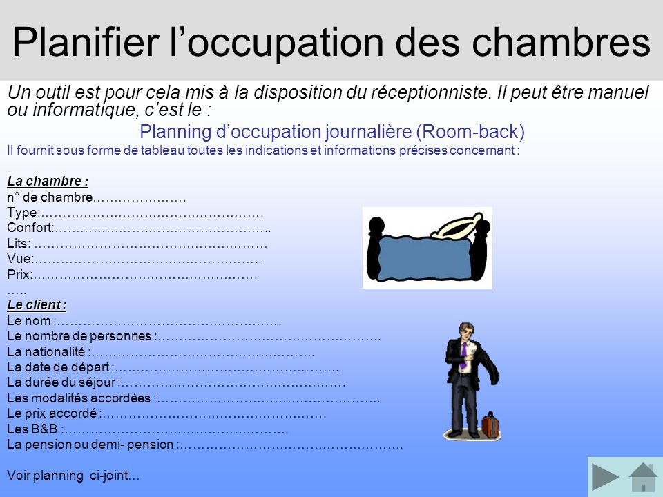 Planifier l'occupation des chambres