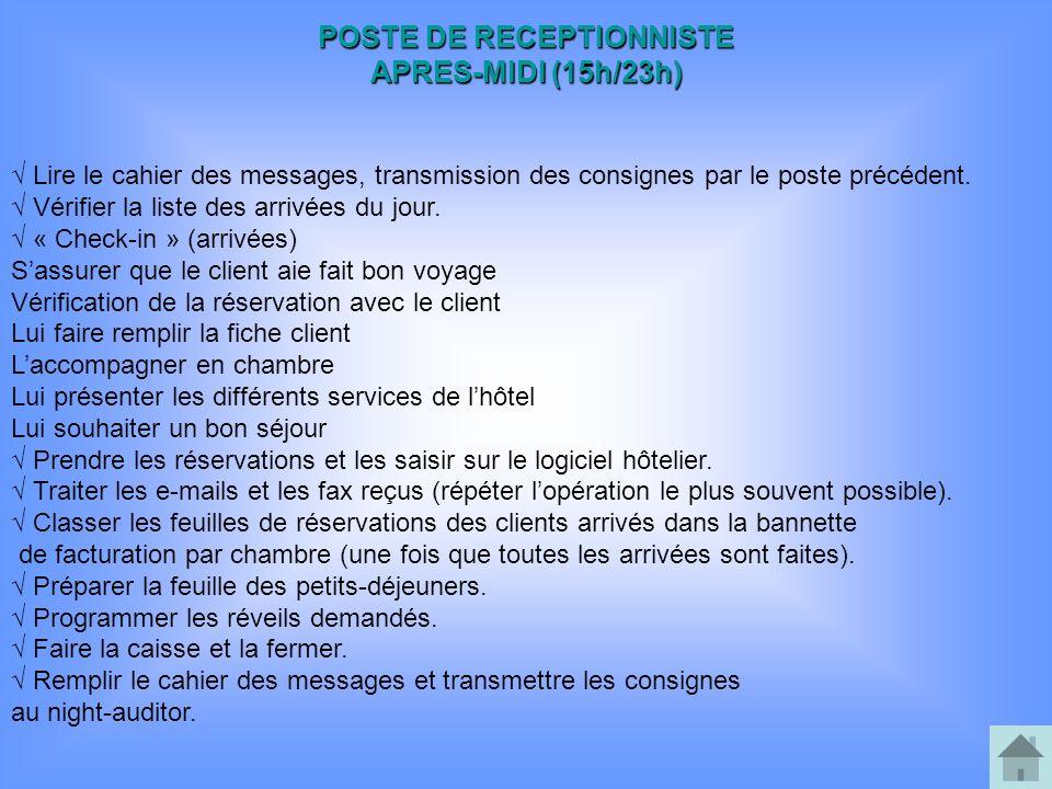 POSTE DE RECEPTIONNISTE