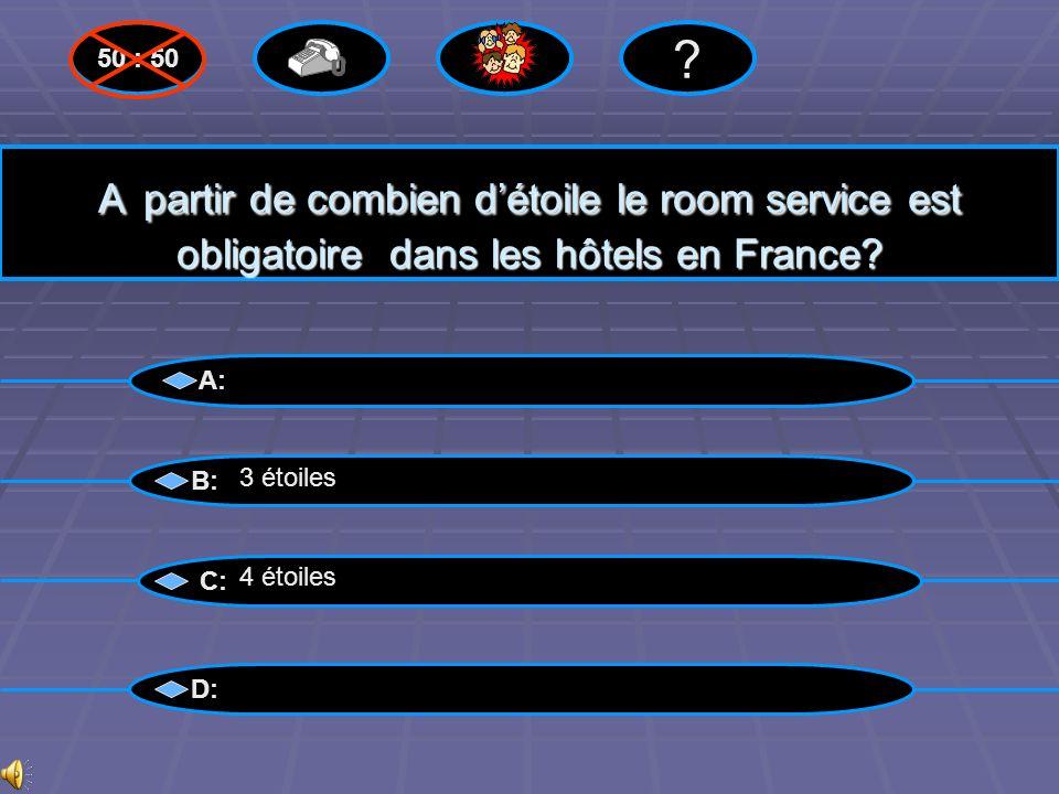 50 : 50 A partir de combien d'étoile le room service est obligatoire dans les hôtels en France