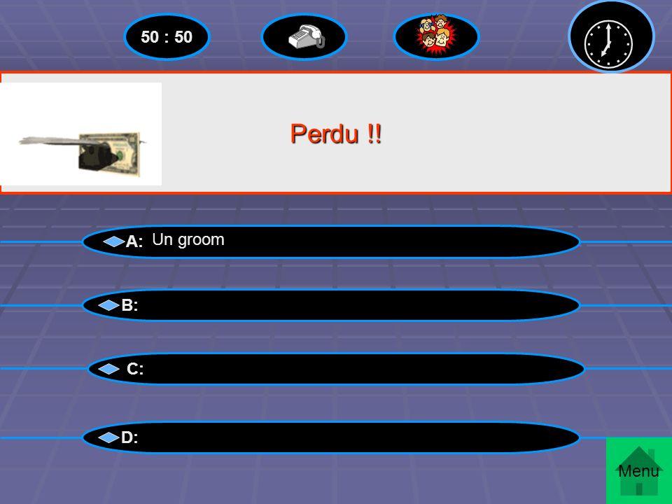  50 : 50 Perdu !! A: Un groom B: C: D: Menu