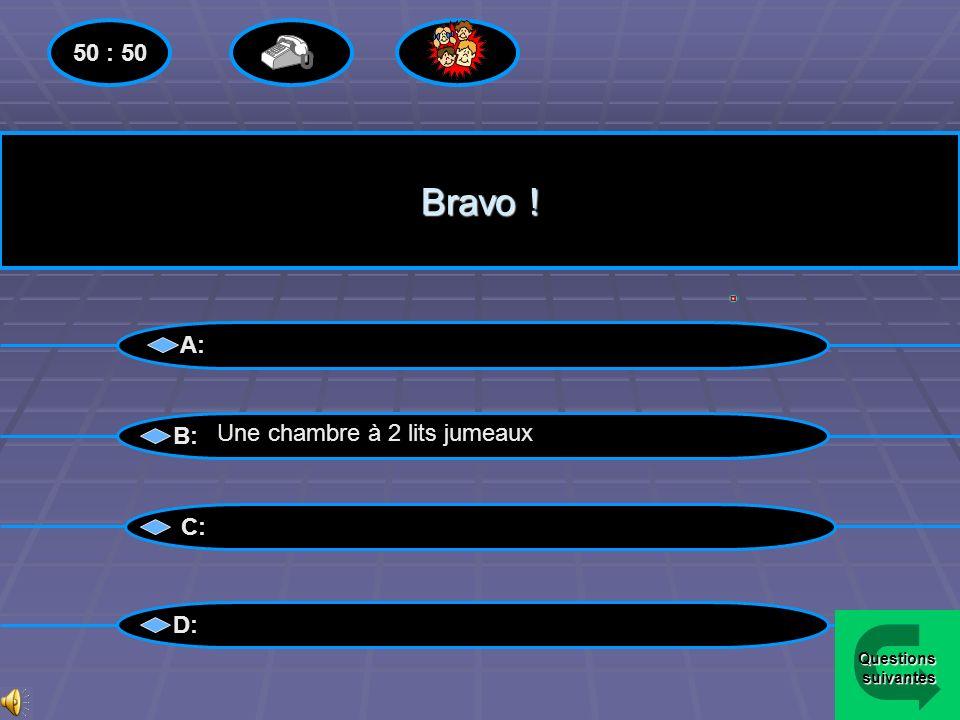 Bravo ! 50 : 50 A: B: Une chambre à 2 lits jumeaux C: D: Questions