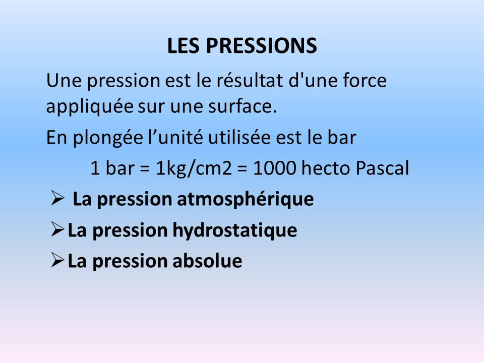 1 bar = 1kg/cm2 = 1000 hecto Pascal