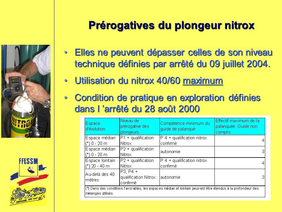 Prérogatives du plongeur nitrox