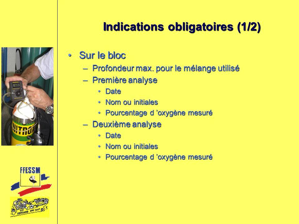 Indications obligatoires (1/2)
