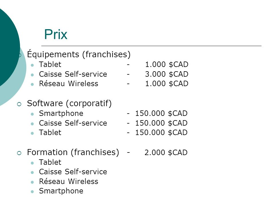 Prix Équipements (franchises) Software (corporatif)