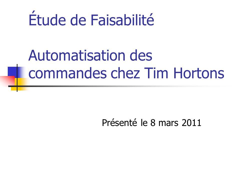 Étude de Faisabilité Automatisation des commandes chez Tim Hortons