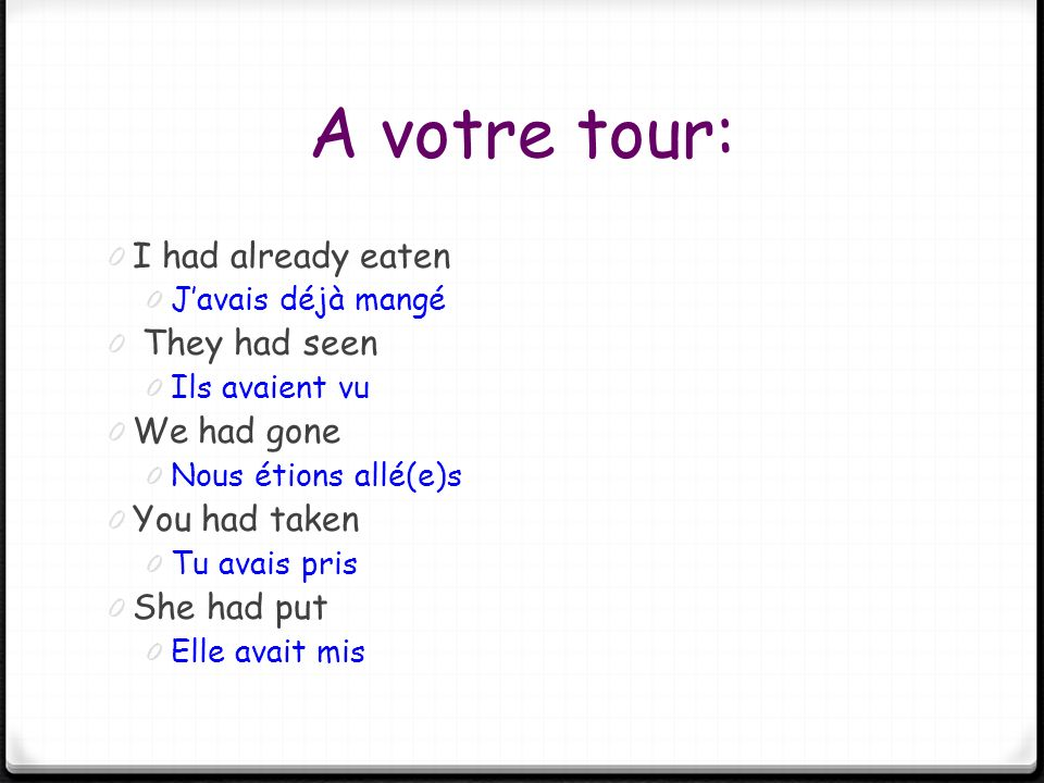 A votre tour: I had already eaten They had seen We had gone