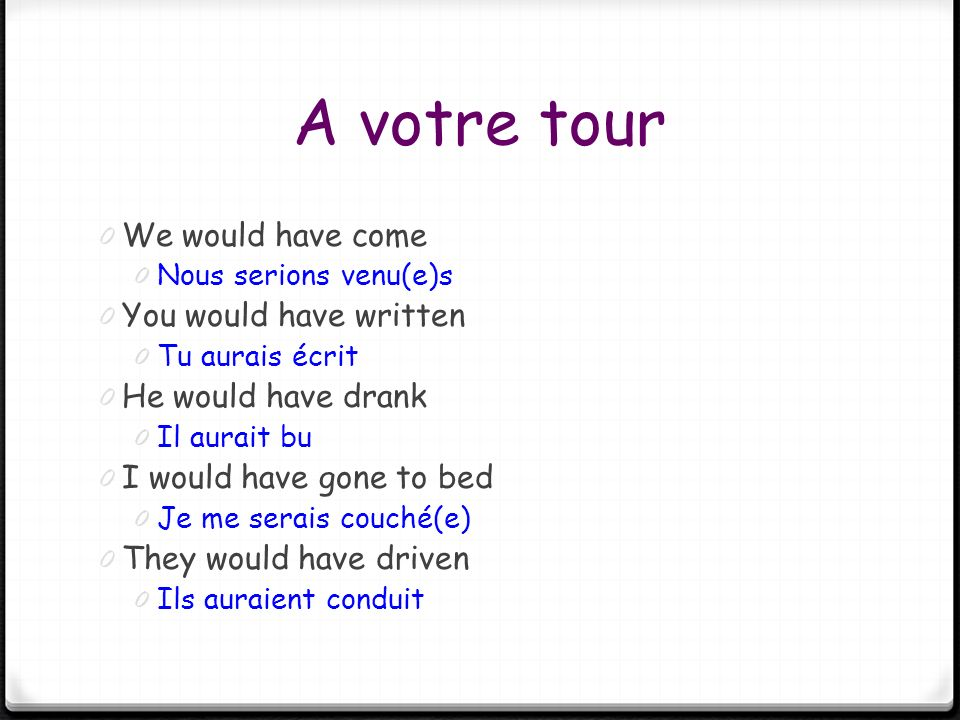 A votre tour We would have come You would have written