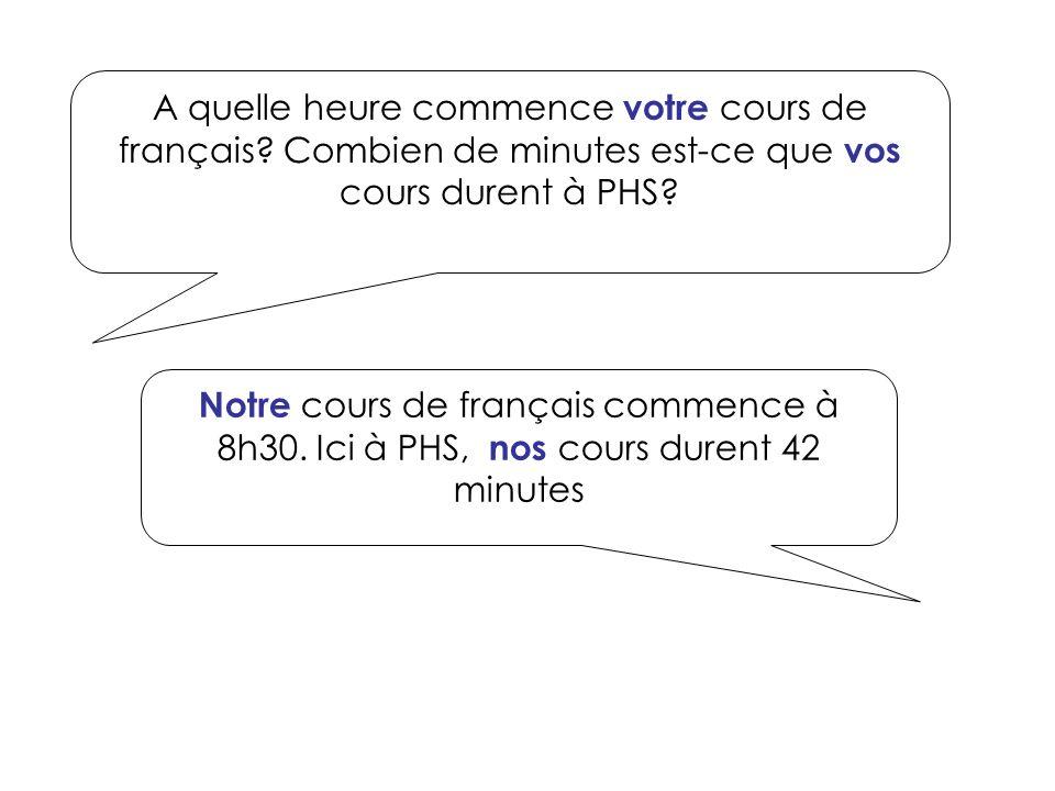 A quelle heure commence votre cours de français