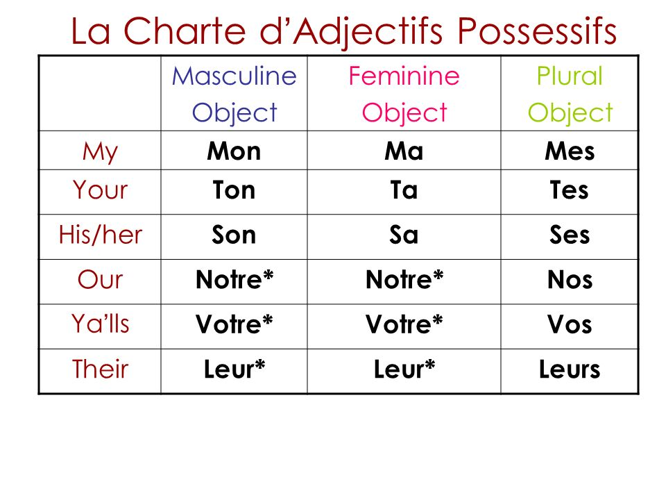 La Charte d'Adjectifs Possessifs