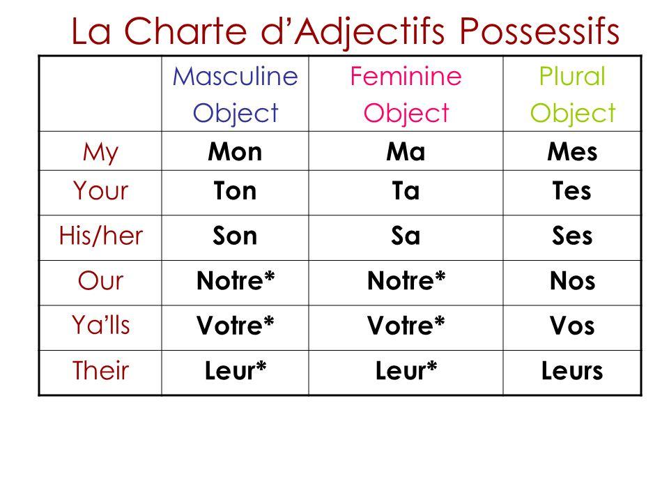 La Charte d'Adjectifs Possessifs
