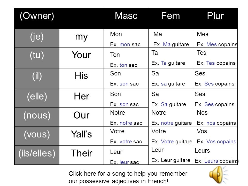 (Owner) Masc Fem Plur (je) my (tu) Your (il) His (elle) Her (nous) Our