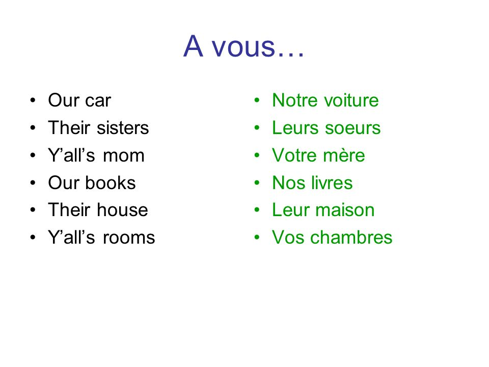 A vous… Our car Their sisters Y'all's mom Our books Their house