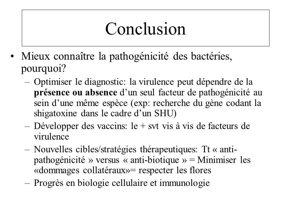 Conclusion Mieux connaître la pathogénicité des bactéries, pourquoi
