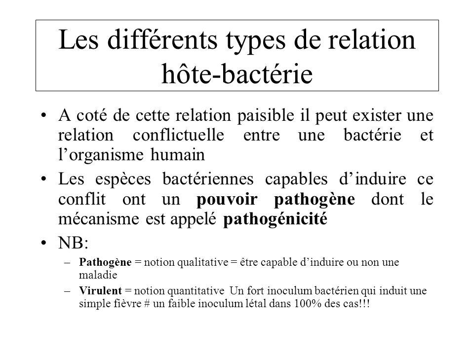 Les différents types de relation hôte-bactérie