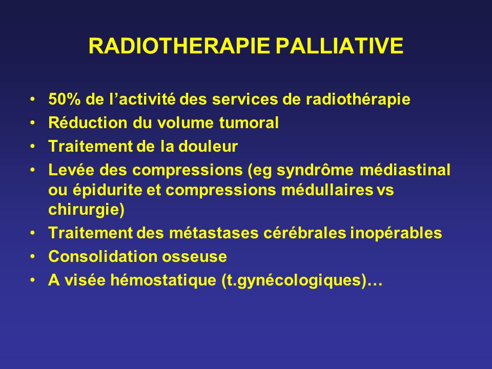 RADIOTHERAPIE PALLIATIVE