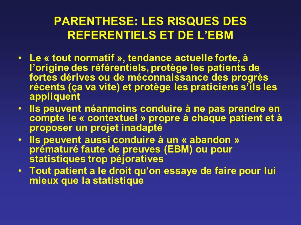 PARENTHESE: LES RISQUES DES REFERENTIELS ET DE L'EBM