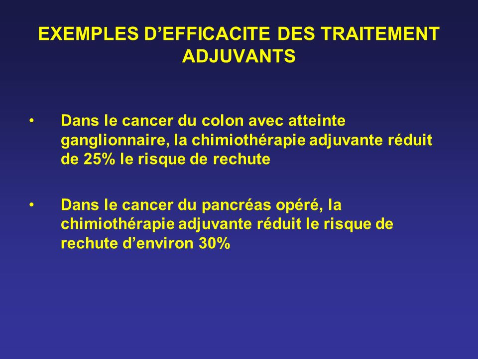 EXEMPLES D'EFFICACITE DES TRAITEMENT ADJUVANTS