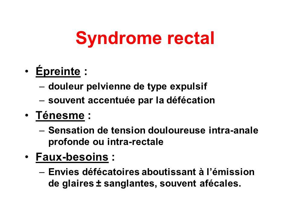 Syndrome rectal Épreinte : Ténesme : Faux-besoins :