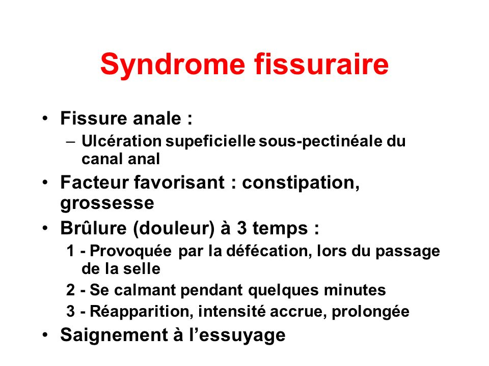 Syndrome fissuraire Fissure anale :