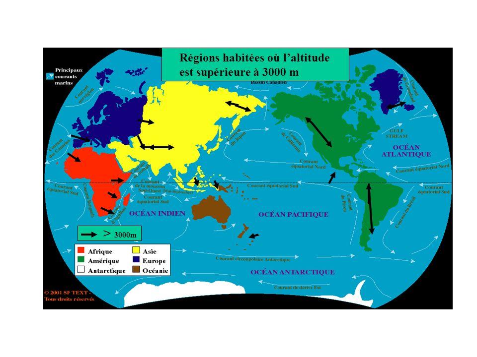 Régions habitées où l'altitude est supérieure à 3000 m