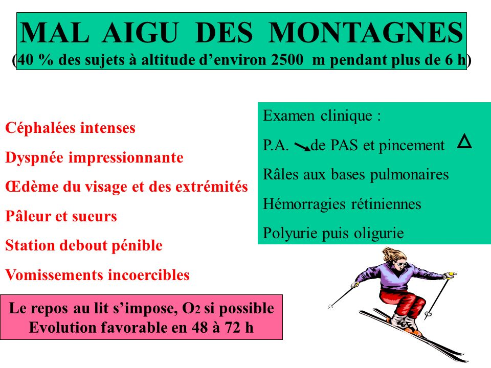 MAL AIGU DES MONTAGNES (40 % des sujets à altitude d'environ 2500 m pendant plus de 6 h)