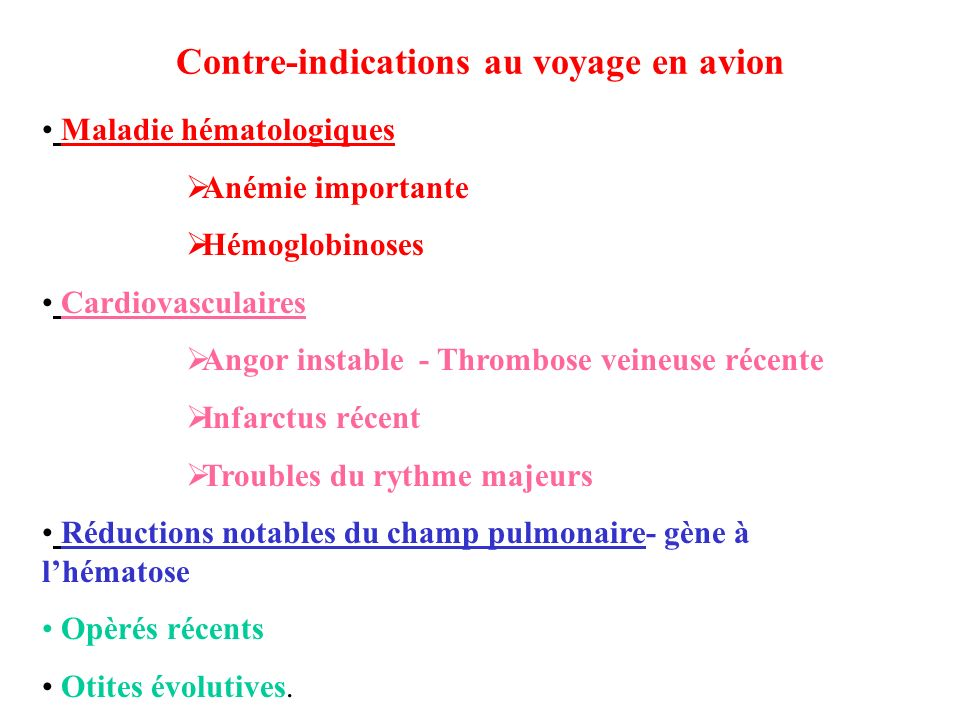 Contre-indications au voyage en avion