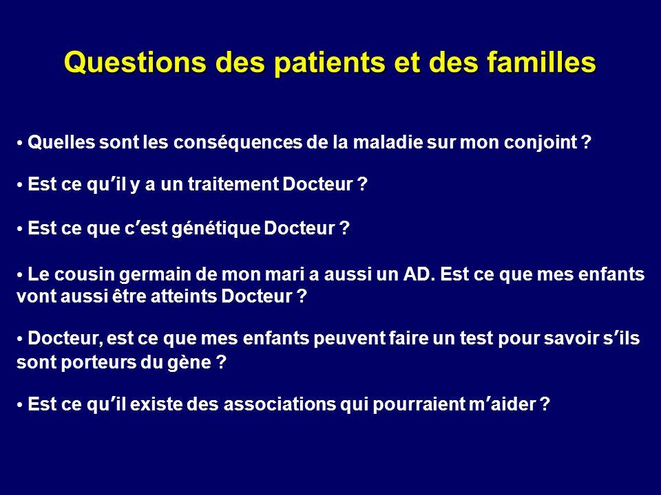 Questions des patients et des familles