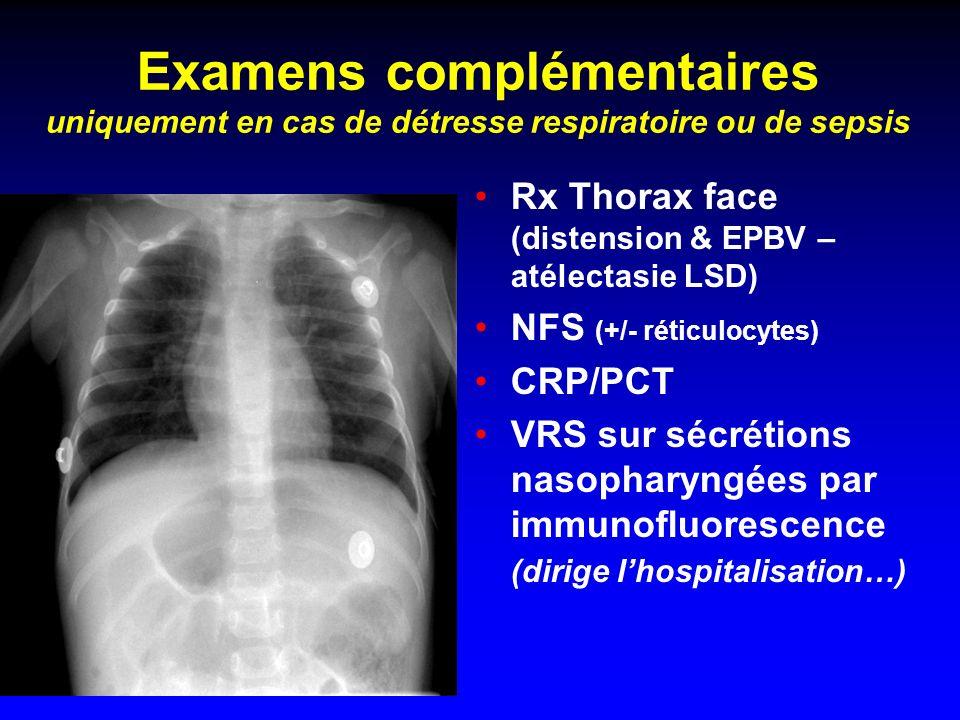 Examens complémentaires uniquement en cas de détresse respiratoire ou de sepsis