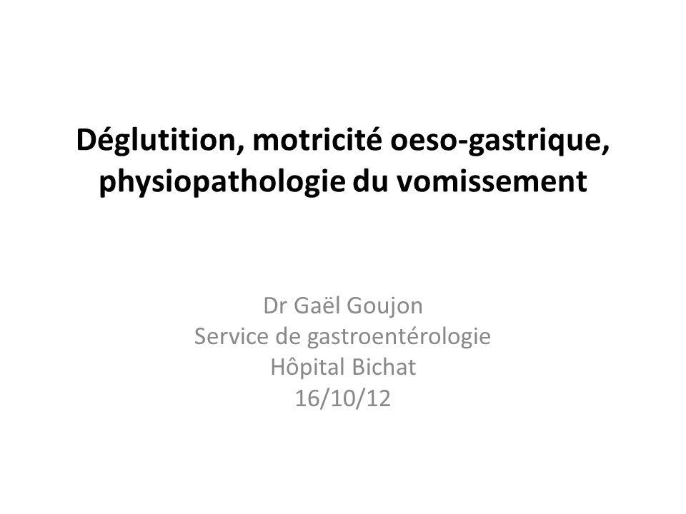 Déglutition, motricité oeso-gastrique, physiopathologie du vomissement