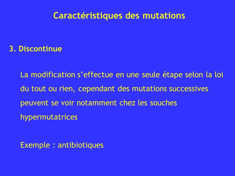 Caractéristiques des mutations