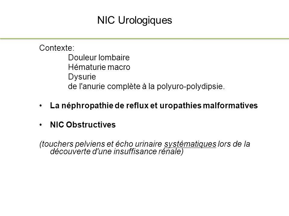 NIC Urologiques Contexte: Douleur lombaire Hématurie macro Dysurie