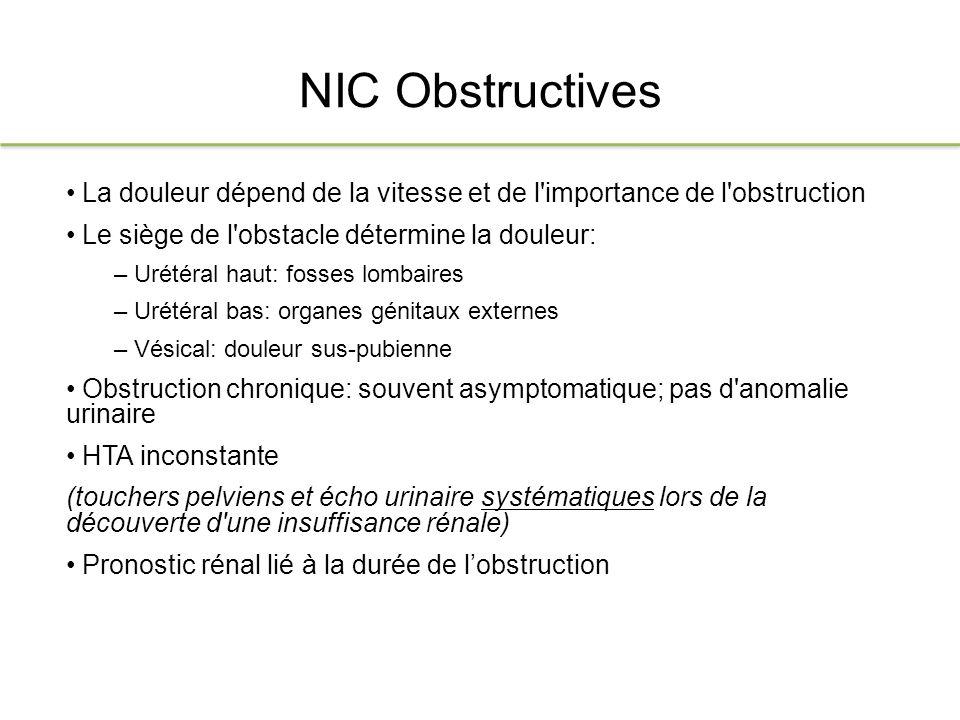NIC Obstructives La douleur dépend de la vitesse et de l importance de l obstruction. Le siège de l obstacle détermine la douleur: