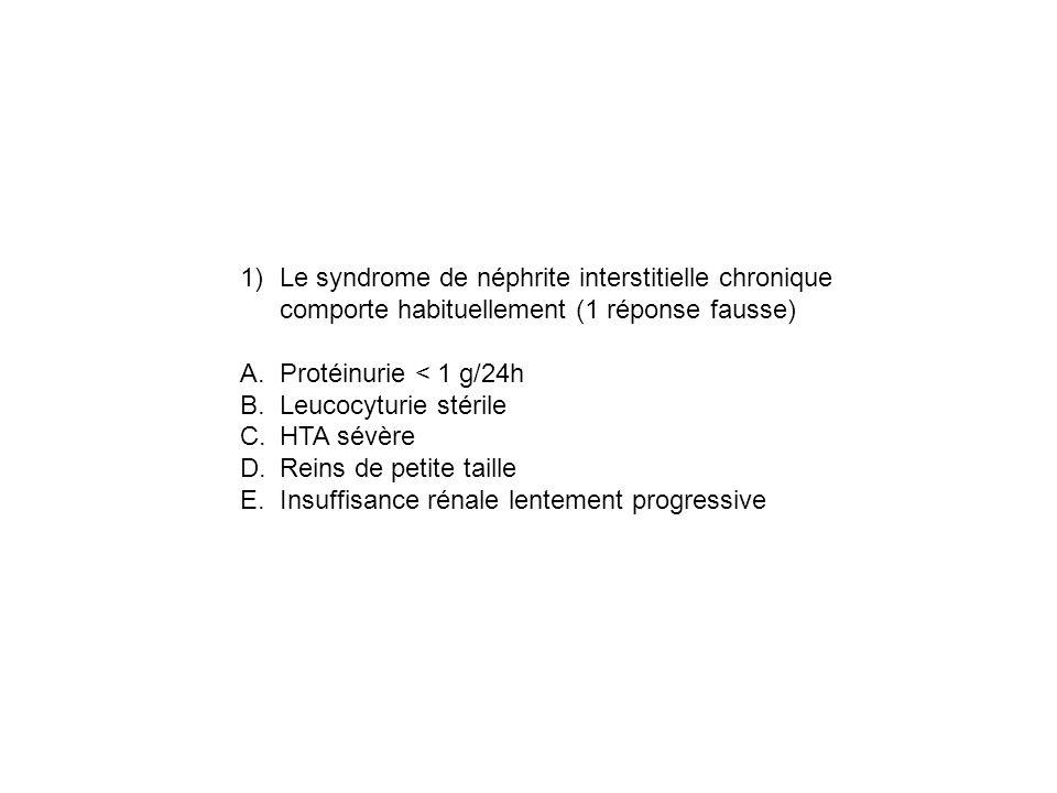 Le syndrome de néphrite interstitielle chronique comporte habituellement (1 réponse fausse)