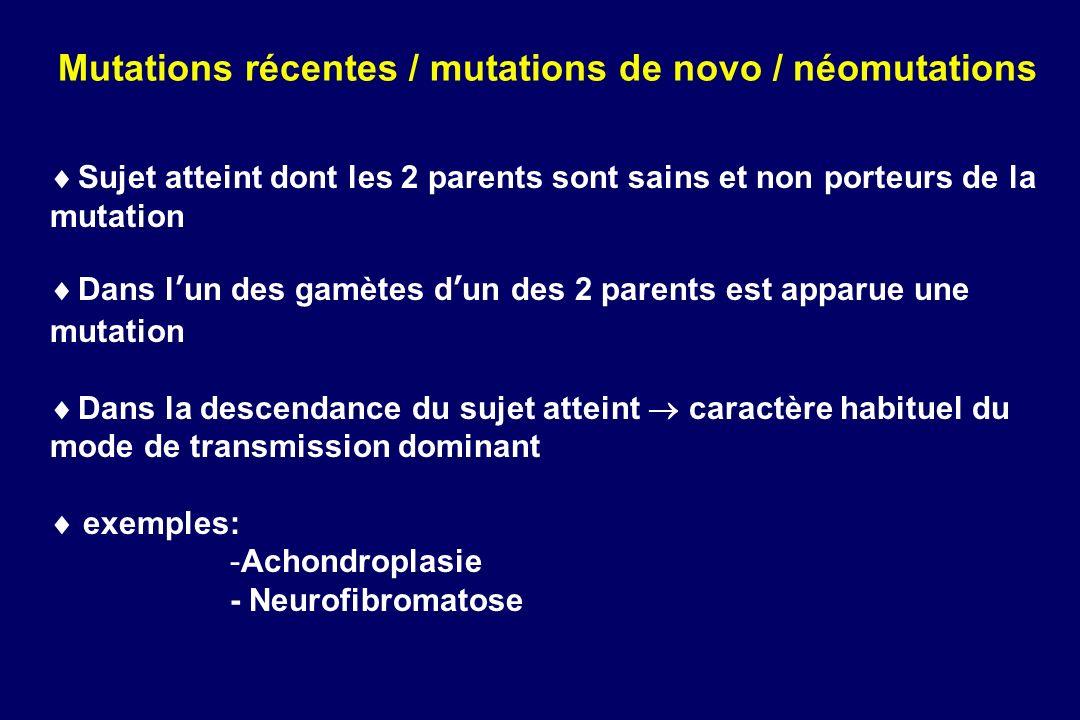 Mutations récentes / mutations de novo / néomutations