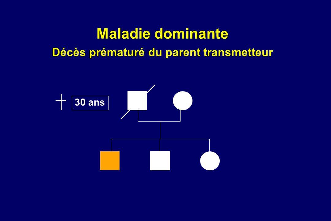 Maladie dominante Décès prématuré du parent transmetteur