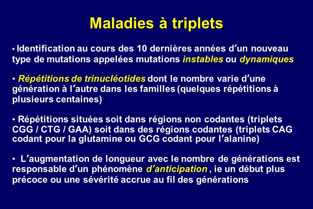 Maladies à triplets Identification au cours des 10 dernières années d'un nouveau type de mutations appelées mutations instables ou dynamiques.