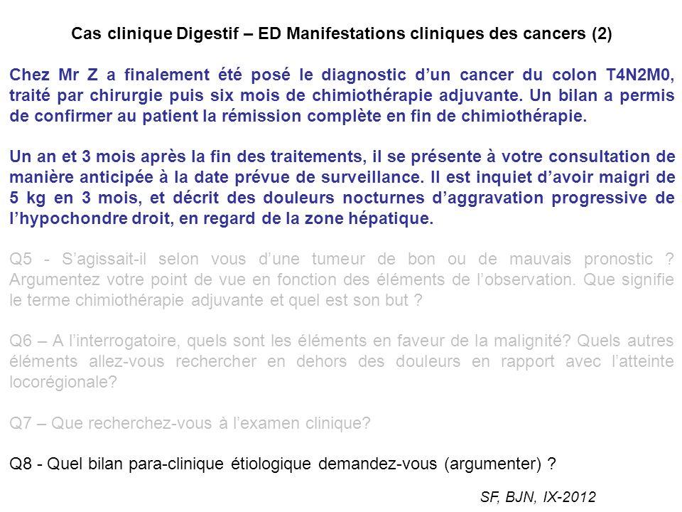 Cas clinique Digestif – ED Manifestations cliniques des cancers (2)
