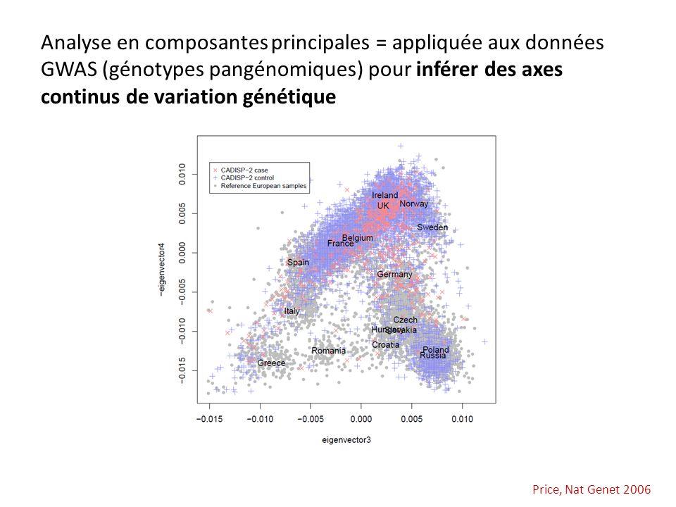Analyse en composantes principales = appliquée aux données GWAS (génotypes pangénomiques) pour inférer des axes continus de variation génétique
