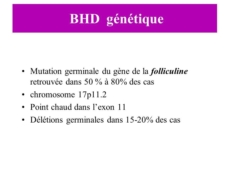 BHD génétiqueMutation germinale du gène de la folliculine retrouvée dans 50 % à 80% des cas. chromosome 17p11.2.