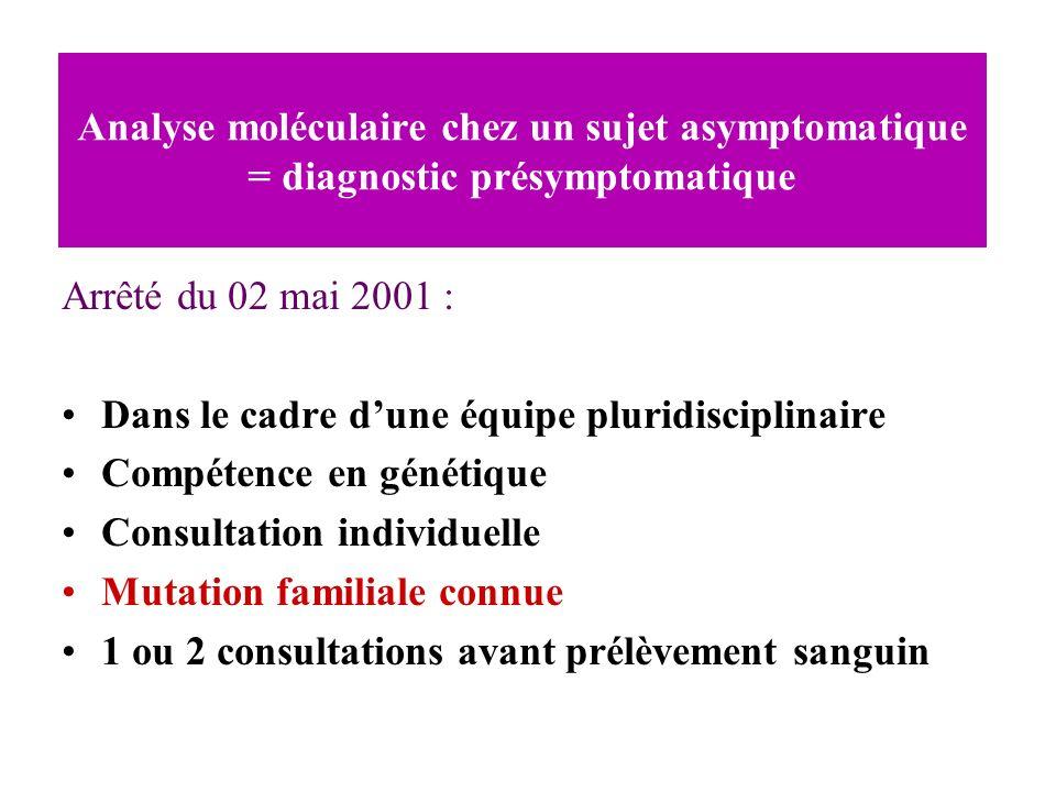 Analyse moléculaire chez un sujet asymptomatique = diagnostic présymptomatique